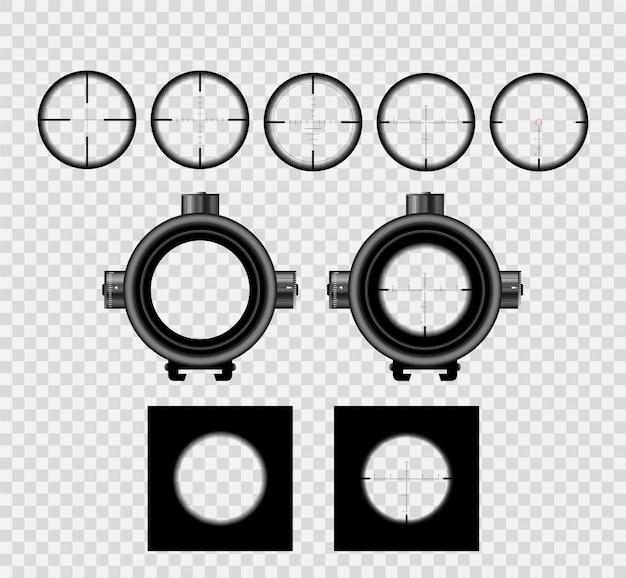 測定マークコレクションセットを備えたリアルな狙撃スコープサイト。