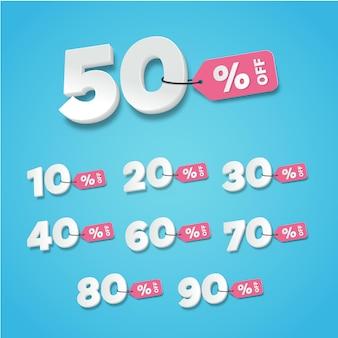 販売および割引ラベル。タグアイコンフラットデザインコレクションセットの価格
