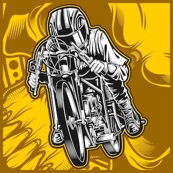 オートバイレースベクトル手描き