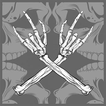 頭蓋骨手金属ベクトル手描き