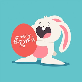 Смешные пасхальный кролик с яйцами и стороны надписи мультфильм иллюстрации, изолированных на фоне.