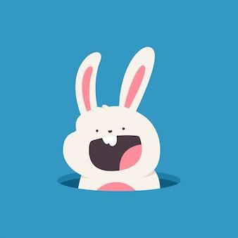 Пасхальный кролик выглядывает из отверстия мультфильм иллюстрации, изолированных на фоне.