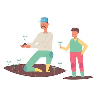 Отец и сын сажают растения. фермеры мультфильма плоские персонажи, изолированные на белом фоне.