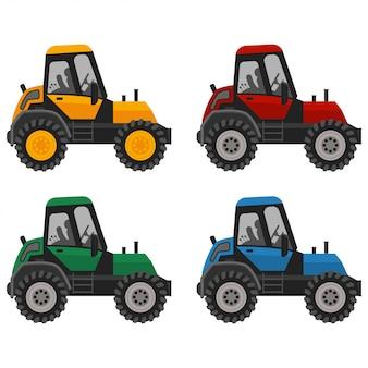 トラクターの赤、青、黄、緑の色のフラットアイコンセット。ファームトラックの図は、白い背景で隔離。