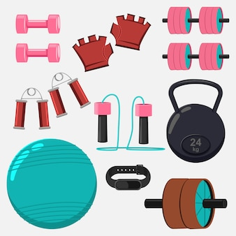 Гантели, гири, скакалка, мяч, ручной расширитель, перчатки и спортивный браслет. фитнес-оборудование мультфильм плоские иконки набор изолированных