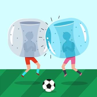 Два парня в надувных костюмах зорба играют в футбол. бампер мяч футбольный матч. мультфильм плоская иллюстрация.