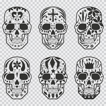 Мексиканский сахарный череп черный силуэт набор. элементы дизайна для праздника день мертвых, хэллоуин, партии и татуировки, изолированных на прозрачном фоне.