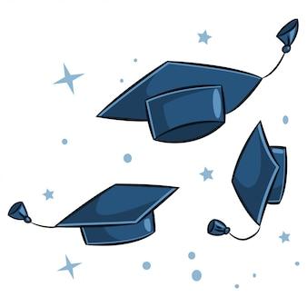 空気中の卒業の帽子。白い背景で隔離の異なる位置で帽子の漫画イラスト。