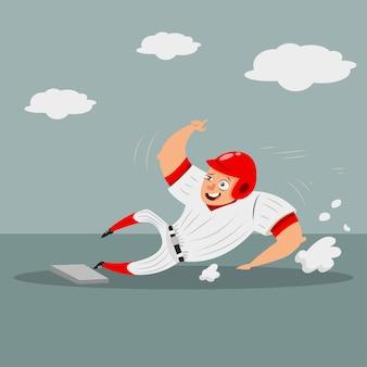 Бейсболист, бегущий игроком, двигается домой. мультипликационный персонаж человека в шлеме и спортивной одежды. иллюстрация на белом фоне.