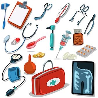 医師のツール。医療用手術器具:聴診器、注射器、耳鏡、血圧計、応急処置スーツケース、錠剤、錠剤。アイコンは、分離の白い背景を設定します。