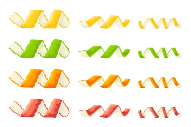 白い背景に分離されたレモン、グレープフルーツ、オレンジ、ライムの漫画セットの皮をツイスト。