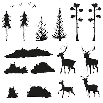 Черные силуэты сосен, елей, кустов, травы, оленей и птиц. набор плоских иконок лесных деревьев и животных, изолированных на белом фоне.