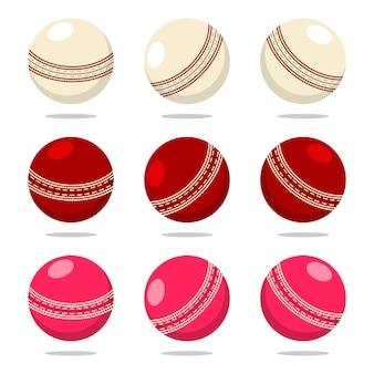 Крикет мяч в разные цвета. мультфильм спортивный набор оборудования, изолированных на белом фоне.