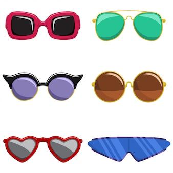 Солнцезащитные очки установлены. мода и ретро-стиль очки в пластиковой цветной раме различной формы. мультфильм иконки на белом фоне.