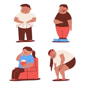 白い背景に分離された肥満と脂肪の子供漫画セット。