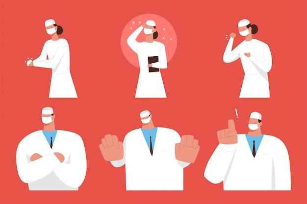 医師と看護師の医療マスクの漫画のキャラクターセット。