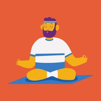 Человек в йоге лотоса представляет персонажа из мультфильма изолированного на предпосылке.