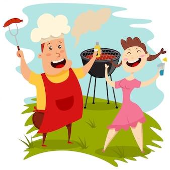 Барбекю вечеринка. человек в шляпе шеф-повар с пивом и соску и милая девушка с коктейлем в руке. векторные иллюстрации мультфильм лучших друзей.