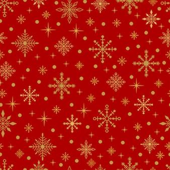 ゴールドの雪と赤い背景の上の星。ベクターのシームレスなクリスマスのパターン。
