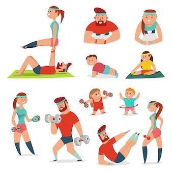 フィットネスカップルの男性と女性の運動をしています。家族トレーニングベクトル漫画イラストが分離されました。健康的なライフスタイルセット。
