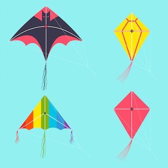Воздушный змей векторный мультфильм набор изолированных.