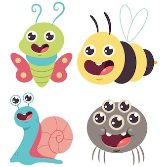 かわいいバグベクトル漫画セット。面白いバンブルビー、カタツムリ、蝶、クモが分離されました。