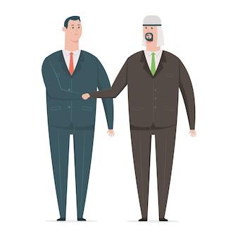 ビジネスパートナーとのアラブのビジネスマン握手。白い背景で隔離のさまざまな国からのオフィスワーカーの漫画のキャラクター。