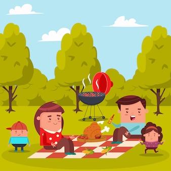 Счастливая семья на пикнике в городском парке.