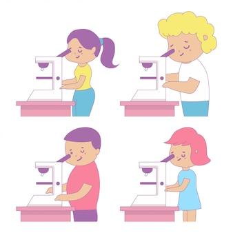 Милые дети школы смотря в иллюстрации шаржа микроскопа изолированной на белой предпосылке.