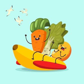 Смешные морковь, салат и манго на банановой резиновой лодке. мультипликационный персонаж милый фрукт и овощ летних водных развлечений. иллюстрация спорта и здорового образа жизни.