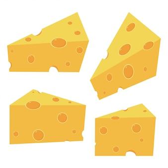 白い背景で隔離のチーズ部分漫画セット。