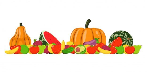 秋の収穫野菜と果物ベクトル分離漫画イラスト