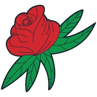 Красная роза мультяшный традиционный