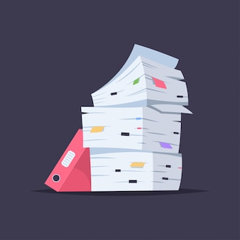 ドキュメント、ファイル、フォルダのスタック分離されたオフィスペーパーパイルのベクトル漫画フラットイラスト