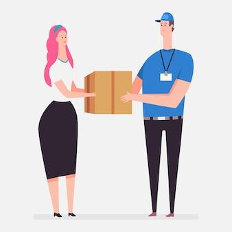 宅配便配達サービス。分離された段ボール箱を持つ女性と宅配便を持つベクトル漫画フラット概念図