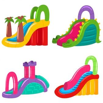 さまざまな形の子供のための膨脹可能な水スライド。夏の遊園地