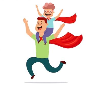 スーパーヒーロー衣装に身を包んだ父と息子が一緒に遊ぶ
