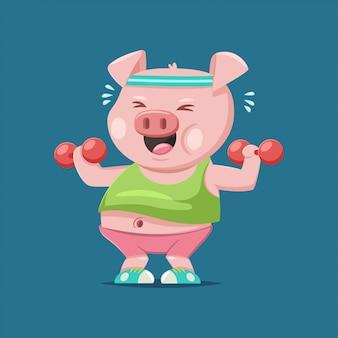 Милый поросенок мультипликационный персонаж делает упражнения с гантелями