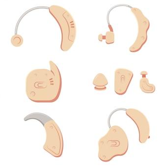 さまざまな種類の補聴器。白い背景で隔離のベクトル漫画セット。