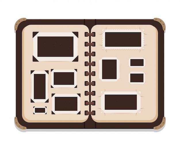 ビンテージオープンフォトアルバムページベクトルイラストセットに孤立した白い背景。