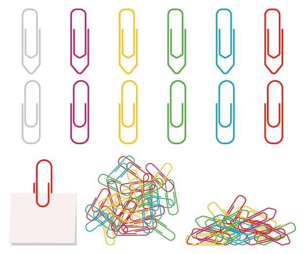ペーパークリップは、白い背景で隔離のフラットカラフルなアイコンセットをベクトルします。