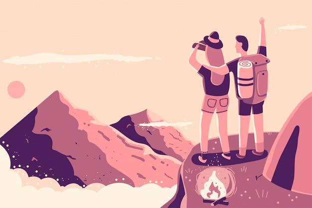 Пара на вершине горы возле костра и палатки векторные иллюстрации шаржа.