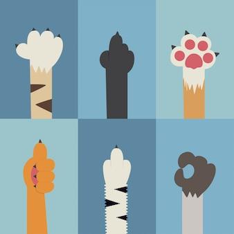 Набор плоских иконок кошачьих лап