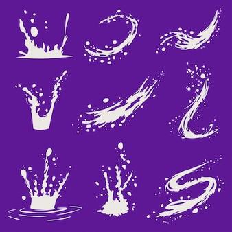 Брызги молока мультфильм иконки набор изолированных