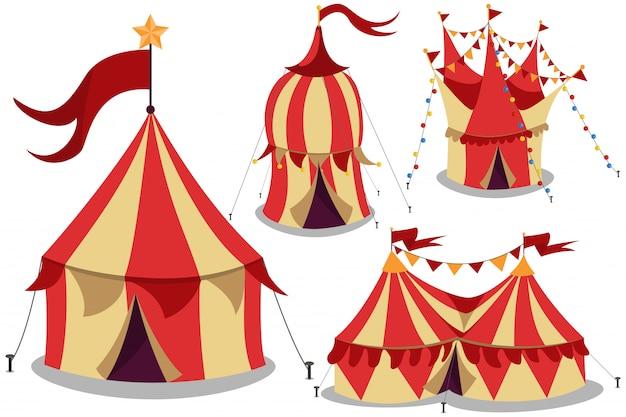 Цирк старинных палаток мультфильм набор изолированных белый