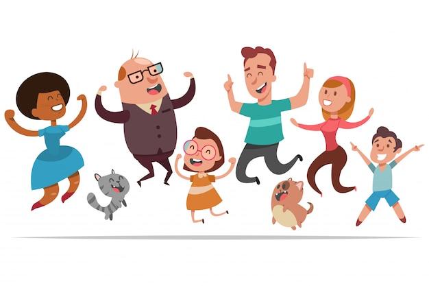 幸せな人々が喜びのためにジャンプします。