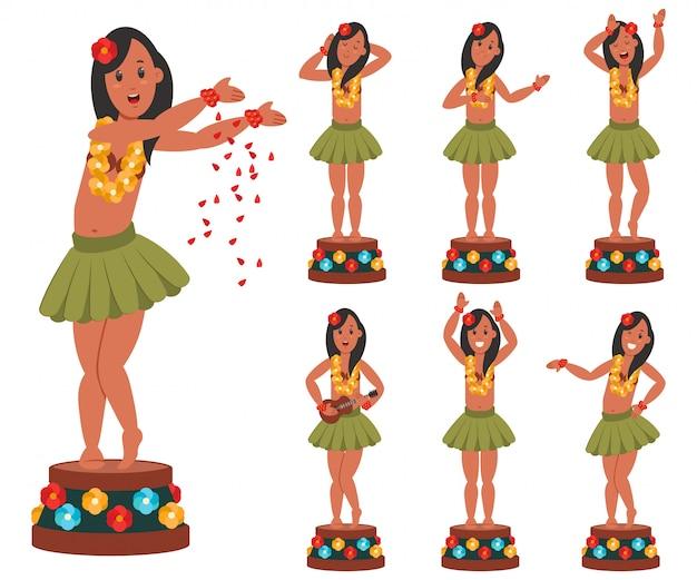 車のために踊るハワイアン人形