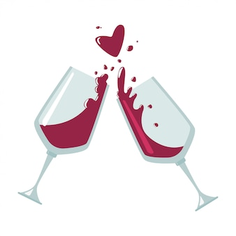 白い背景に分離された乾杯ワイングラスフラットアイコン。