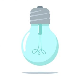 白い背景で隔離の電球フラットアイコン。