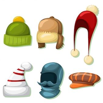 冬の帽子とキャップは、男性と女性用に設定されています。